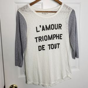 J. Crew love conquers all French baseball tee EUC